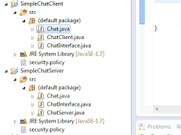 java rmi example simple chat program between server and client