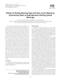 Effects of Rolling Bearing Type and Size on the Maximum Eccentricity Ratio  of Hydrodynamic Rolling Hybrid Bearings
