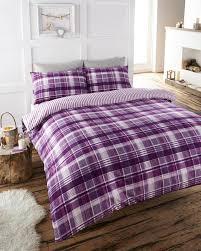 superking plum check duvet set soft flannelette quilt cover bed set