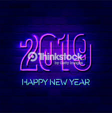 2019 Happy New Year Concept With Colorful Neon Lights Design ...