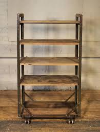 Vintage Metal Kitchen Cart Vintage Industrial Rustic Wood Steel Storage Shoe Rolling Cart