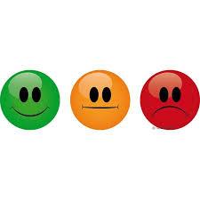 set of 9 magnetic smileys green orange red