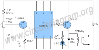 infrared remote control switch circuit diagram infrared ir remote control switch circuit diagram