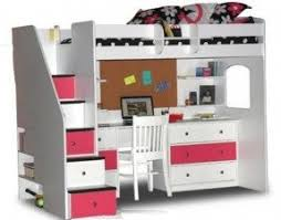 White Loft Bed With Desk And Stairs Foter