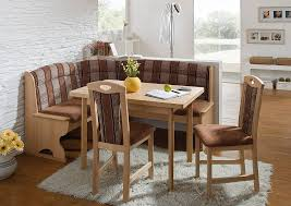 wooden corner bench kitchen with cushion and unfinished wood square table two units of wood chairs