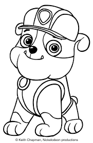 Rubble Coloring Page Paw Patrol Silhouette Creations Paw