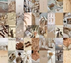 Boujee Aesthetic Beige Wall Collage Kit ...