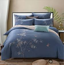 100 bamboo embroidered design bedding set king queen size blue quilt duvet cover bed sheet pillowcases home textile comforters king red duvet covers