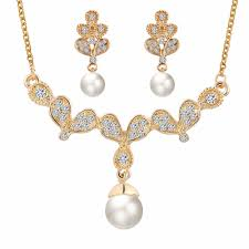 fashion dulhan diamond and pearl jewellery set necklace and earring sets fashion 18k gold plated jewelry set pearl drop earrings and necklace set