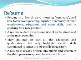 meaning of resumes