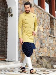 Designer Kurta For Groom Designer Terry Rayon Blue Kurta With Stylish Mustard Color