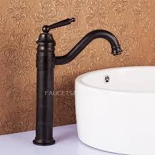Antique Bronze Tall Vessel Mount Bathroom Sink Faucet