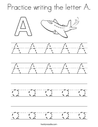 Practice Writing Letters Practice Writing The Letter A Coloring Page Twisty Noodle