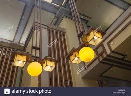 Frank Lloyd Wright Lighting Collection Lighting In Frank Lloyd Wright Chicago Church Stock Photo