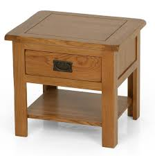 rustic solid oak sofa side table drawer and shelf 51x56 wooden indoor furniture