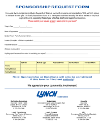 Sponsorship Request Form Lynch Superstore Sponsorship Request Form pertaining to Request Form 1