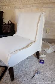 slip covering an armless accent chair