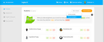duolingo for schools in your classroom just go to students left menu and select more details you can see many skills the student has completed and also the old details