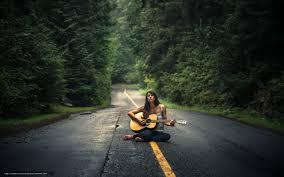 Download wallpaper guitar, girl, road ...