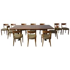 fine french art deco dining set by leleu large table and 12 chairs modern