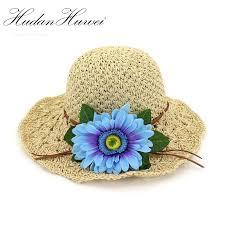 Paper Flower Hats Summer Paper Straw Hand Hook Knitted Cap Women Wide Brim Sun