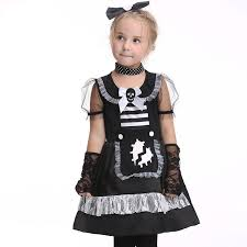Pirate Costume Pattern Simple Halloween Cosplay Maid Girls Dress Carnival Party Skeleton Pattern