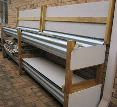 a worm trough made from corrugated steel timber and fibre cement board