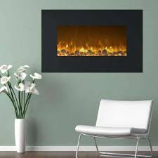 36 in electric fireplace color changing wall mount floor stand in black
