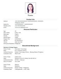 Resume Format Sample For Job Application Basic Resume Template Basic