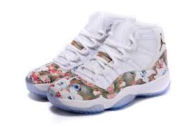air jordan shoes for girls 2016. women air jordan 11 gs floral flower white brown for sale-1 shoes girls 2016