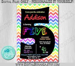Party Invites Online 5th Birthday Invitation Rainbow Chevron Edit Yourself