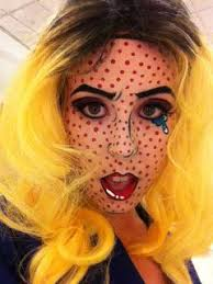 a tutorial on how to do pop art makeup for a costume inspired by roy lichtenstein