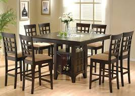 contemporary casual dining room design with 9 pieces square bar height kitchen table set on
