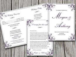 5x7 border template fold over wedding program template download charlan eggplant