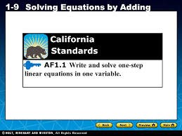 holt ca course 1 1 9 solving equations by adding af1 1 write and