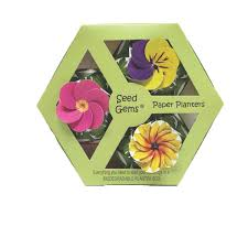 Biodegradable Paper With Flower Seeds W1384 3 Pack Flower Set In Paperboard Hexagon Gift Box Seedgems