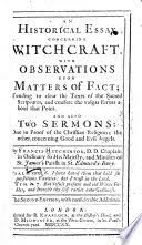 an historical essay concerning wichcraft observations upon  an historical essay concerning witchcraft observations upon matters of francis hutchinson full view 1720