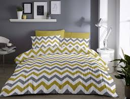 chevron ochre and grey duvet cover sets