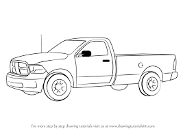 Learn How to Draw a Pickup Truck (Trucks) Step by Step : Drawing ...