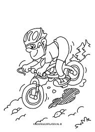 Kleurplaat Fietsen Mountainbiken Sport