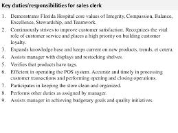 Key duties responsibilities for sales clerk     SlideShare