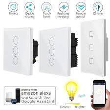 Wireless Light Dimmer Uk Plug Wireless Smart Light Dimmer In Wall Switch Touchs Remote Control Wifi Light Switch For Alexa Google Home Home Easy Home Security Store From