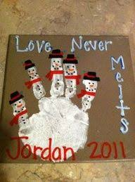 Love Never Melts Snowman Handprint craft for kids Christmas Christmas  Holiday DIY Craft