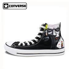converse shoes design. black converse men women shoes custom design joker hand painted high top canvas sneakers man n