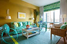 view in gallery beach style living room in yellow and turquoise with a couch that also adds pattern