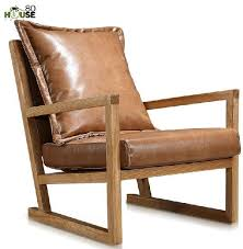 simple wooden sofa chair.  Sofa Simple Modern Furniture  Solid Wood Leisure Chair Leather Art Single Sofa  In Balcony And Wooden Sofa Chair E