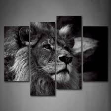 lion portrait black and white. Interesting Black Amazoncom Black And White Lion Head Portrait Wall Art Painting Pictures  Print On Canvas Animal The Picture For Home Modern Decoration Posters U0026 Prints N