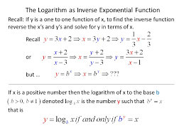 the logarithm as inverse exponential function recall if y is a one to one function