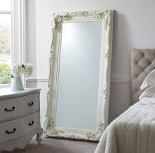 Wonderful White Leaning Floor Mirror With Frame Before The Wall Plus On Decor
