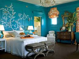 Bedroom. Blue Bedroom Wall With White Three Paint Combined By White Bed And  Grey Puff